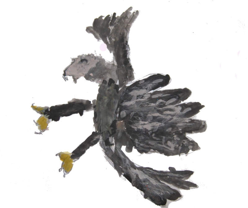 Preparatory work - Eagle hovering - Painting